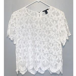 white lace cropped shirt